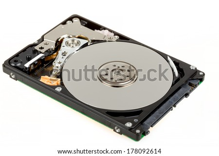 uncovered 2,5 inch notebook hard drive isolated on white