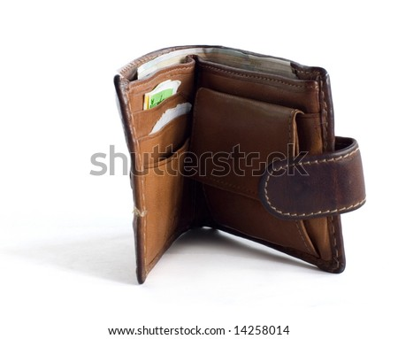 uncovered wallet - stock photo