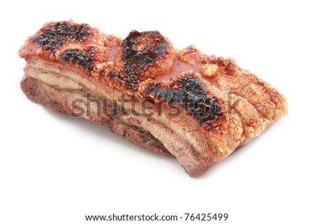 Uncut whole peace of Roast Pork Belly Isolated on white - stock photo