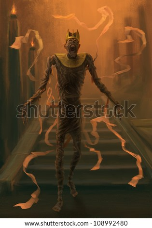 Undead mummy. Digital painting. Dark fantasy theme. Mummy goes down the stairs. - stock photo