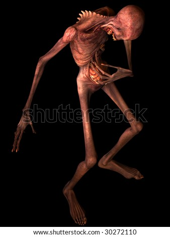 Undead Zombie pulling at his exposed guts. Isolated on a black background. - stock photo