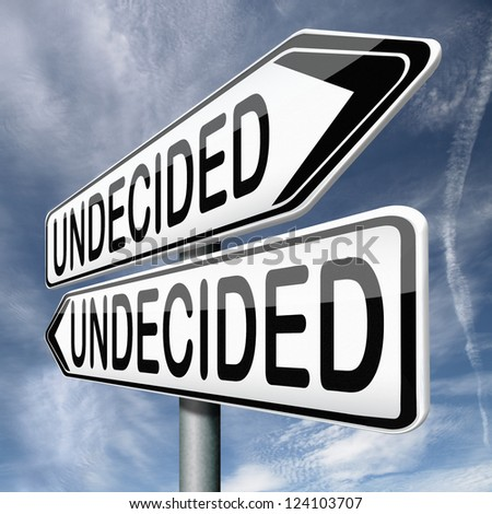 undecided and having a difficult choice when you can't choose being doubtful or in doubt because of confusion you become insecure and indecisive