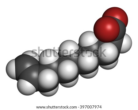 Undecylenic acid topical antifungal drug molecule. 3D rendering. Atoms are represented as spheres with conventional color coding: hydrogen (white), carbon (grey), oxygen (red).