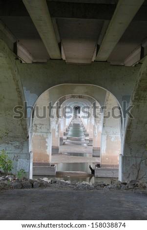 Under a bridge - stock photo