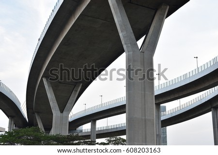 under a bridge a pier, a landing architecture infrastructure - Bhumibol Bridge  expressway highway