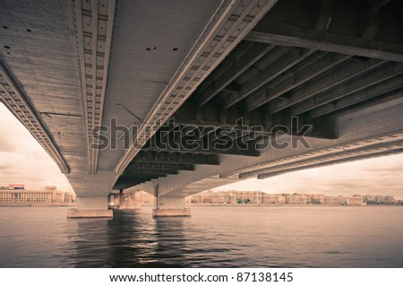 Under bridge city  colorless view in Saint-Petersburg, Russia - stock photo