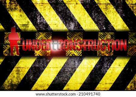 under construction at warning zone - stock photo