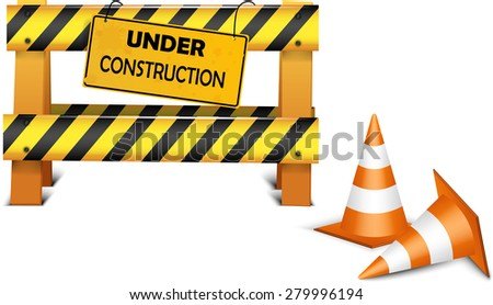 Under construction barrier over white background
