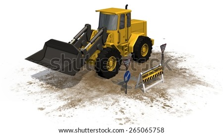 under construction barrier street in front wheel loader bulldozer separated on white background - stock photo