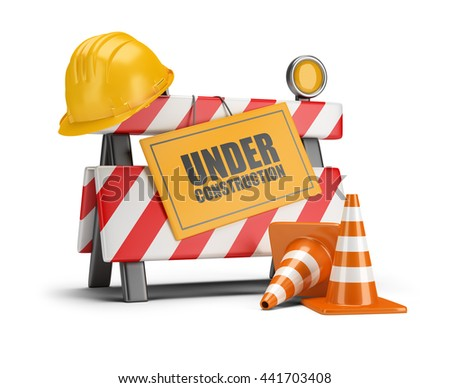 Under construction barrier. Traffic cones. Road sign. Construction helmet. 3d image. White background. - stock photo