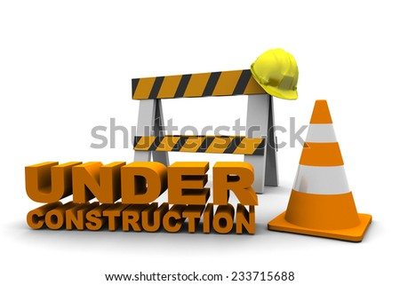 Under Construction Bench and Cone isolated on white background
