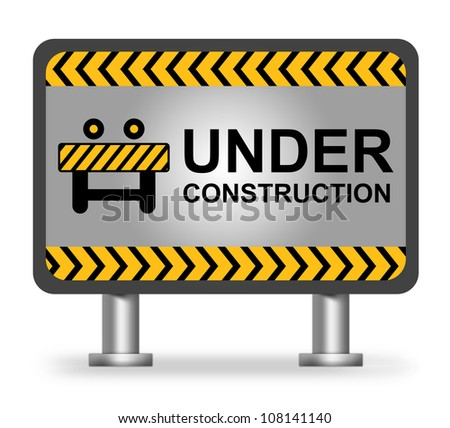 Under Construction Billboard  With Hoarding Icon Isolate on White Background