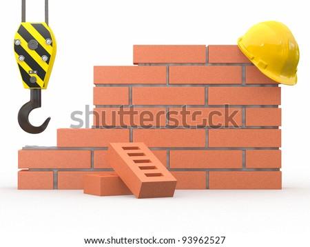 Under construction. Brick wall, crane and hardhat. 3d - stock photo