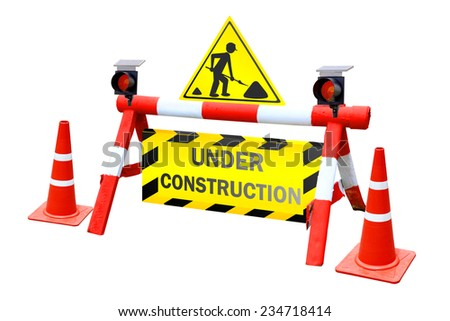 Under construction concept for out of service system isolated on white background with clipping path. - stock photo