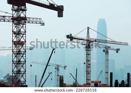 Under Construction Construction works of the Hong Kong section of Guangzhou Shenzhen Hong Kong express rail link - stock photo