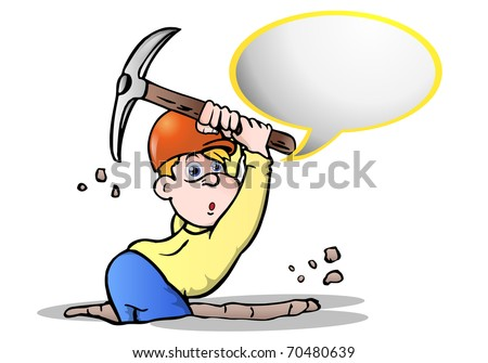 under construction digger worker  talk in a blank bubble text over white background - stock photo