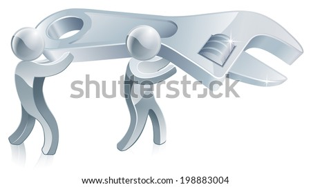 Under construction men illustration of two figures holding a giant wrench or spanner - stock photo