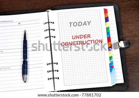 Under construction message on today page