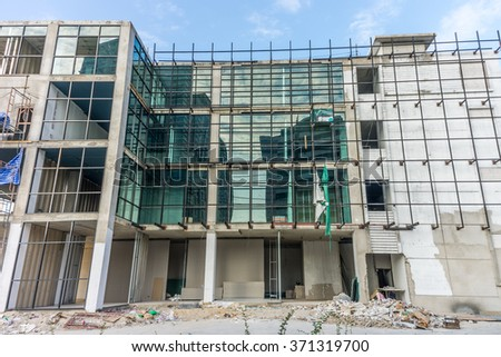 Under construction modern building. The construction industrial in Thailand. - stock photo