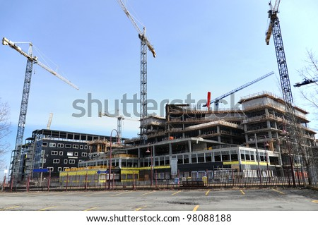 Under construction new , McGill University Health Centre (MUHC) is a network of teaching and community hospitals in Montreal, Quebec, Canada affiliated with McGill University. - stock photo