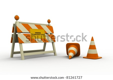UNDER CONSTRUCTION Sign and cone. - stock photo