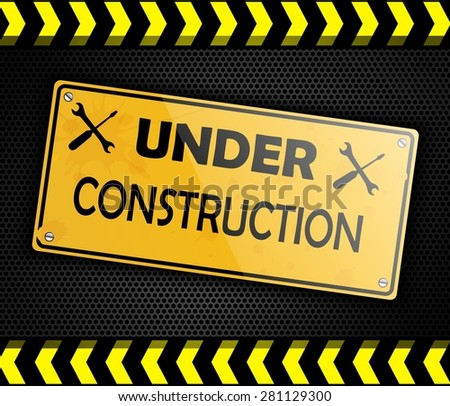 Under construction sign background black - stock photo