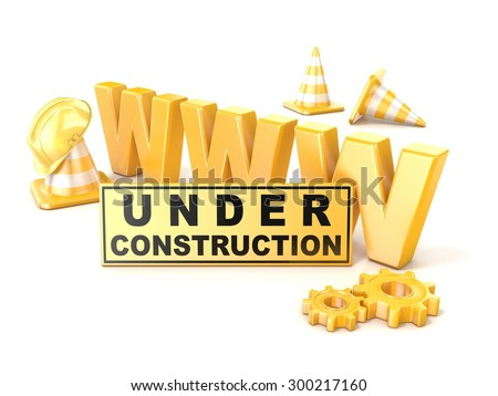 Under construction sign. 3D render illustration - stock photo