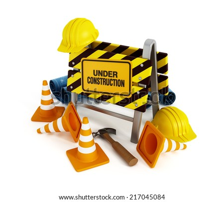Under construction sign, helmets, traffic cones and tools.