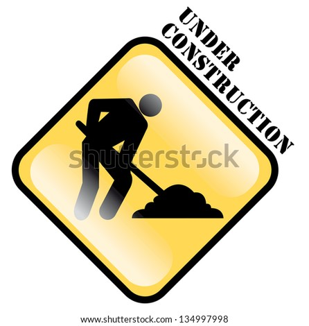 under construction sign, in english language