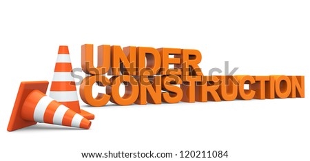 Under construction sign on a white background - stock photo