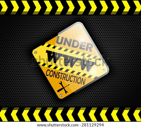 Under construction sign on background black - stock photo