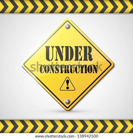under construction sign on white. Raster copy of vector illustration - stock photo