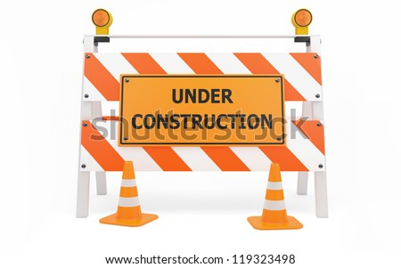 Under Construction traffic barricade isolated with clipping path