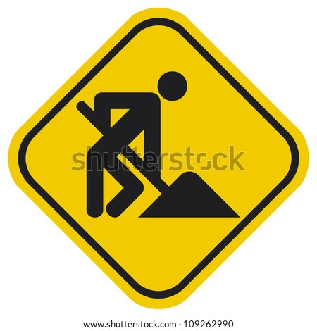 under construction (under construction road sign with man, under construction icon, under construction symbol) - stock photo