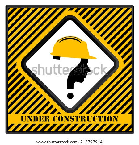 under construction with question mark human head symbol - stock photo