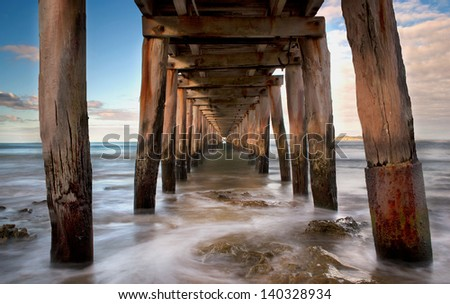 Under jetty point lonsdale, Australia - stock photo