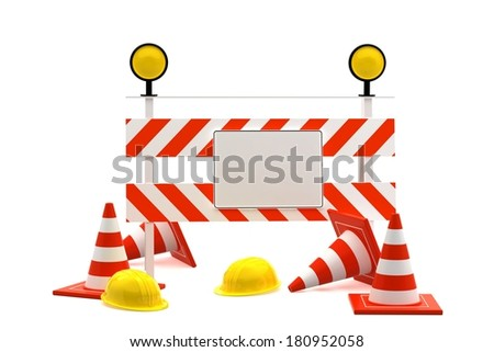 Under reconstruction concept isolated on white background. 3d render  - stock photo