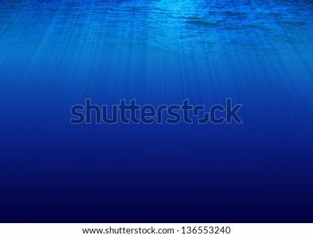 Under sea on blue background - stock photo
