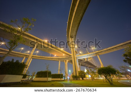 Under the Bhumipol bridge on twilight period in bangkok,thailand