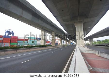 Under the bridge. Urban scene - stock photo