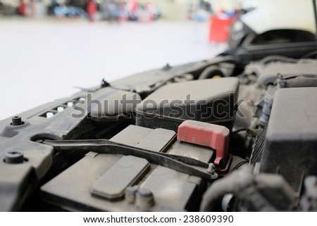 under the hood of the car - stock photo
