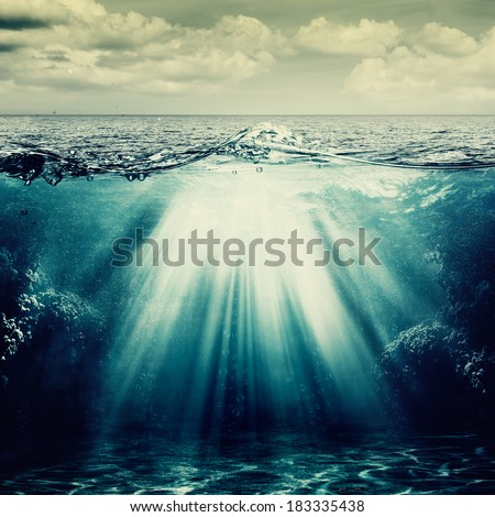 Under the ocean surface, abstract natural backgrounds - stock photo