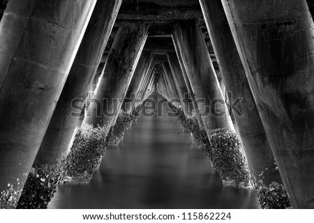 Under the old concrete bridge for boat fishing ,Hua Hin at Prachuap Khiri Khan, Thailand - stock photo