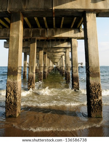 Under the pier at Coney Island, New York - stock photo