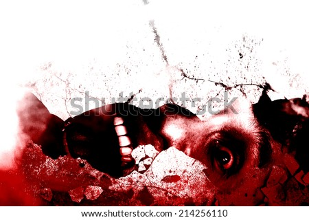 Under the Ruins,Bloody,Horror Background For Movies Poster Project  - stock photo