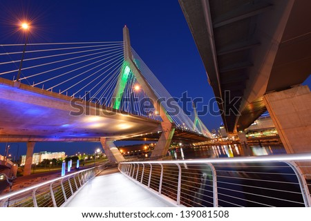 Under Zakim Bridge, Boston - stock photo