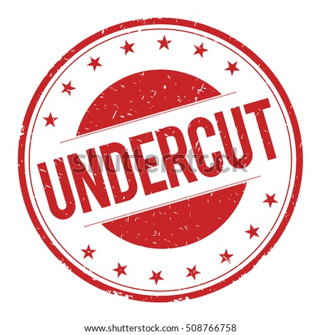 UNDERCUT stamp sign text word logo red.