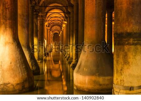 Underground Basilica Cistern in Istanbul, Turkey - stock photo
