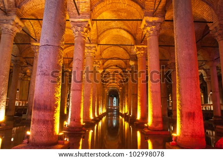 Underground Basilica Cistern, Istanbul, Turkey. - stock photo