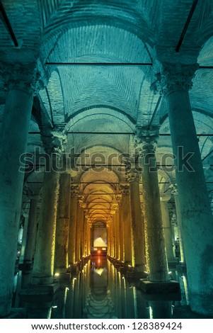 Underground basilica cistern ,turquoise - stock photo